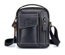 Мужская кожаная сумка через плечо барсетка BullCaptain черная