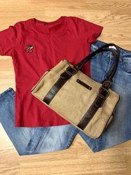Фирменная яркая сумка H&M, деловая коричневая сумочка