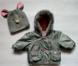 Фирменная стильная куртка Mothercare  клёвая шапочка Мышка  6-12 месяцев