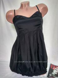 Нарядная удлиненная черная майка на резинке , тонкие бретели р. m , only