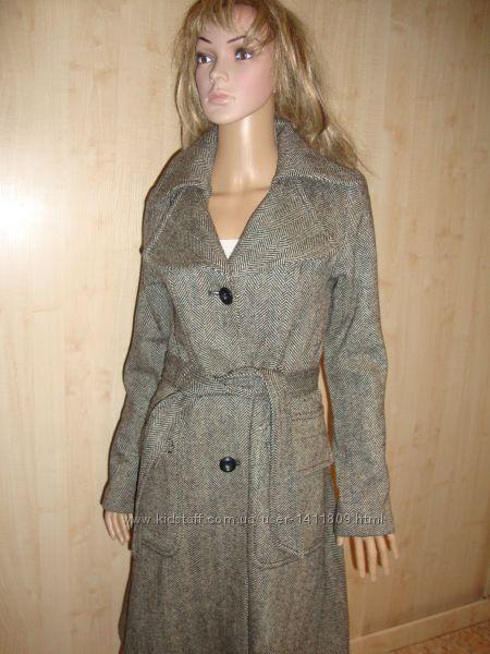 Летняя цена/Дорогое пальто в ёлочку шерсть S.