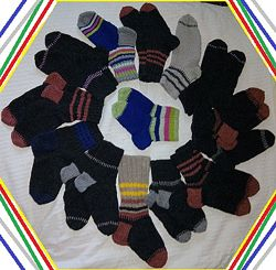 Чисто шерстяные носки с двойной пяткой ручной работы