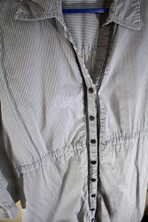 Женское платье-рубашка в черно-белую полосочку cotton club размер м