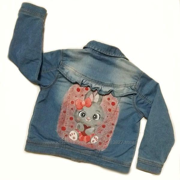 Детская Джинсовая куртка джинсовка с ручной росписью для девочки