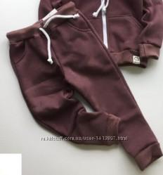 Теплые спортивные штаны, трикотаж с начесом