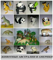 Игрушки разного размера фигурки панда кенгуру утконос тапир коала киндеры