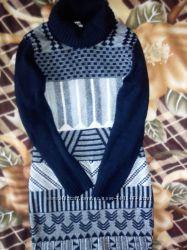 Платье туника в узоры очень теплое M