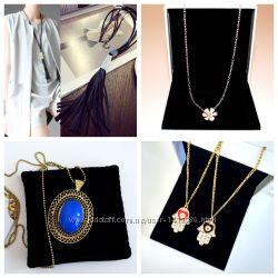 Подвеска Ромашка, Хамса и ожерелье Синий камень, длинное с кисточками