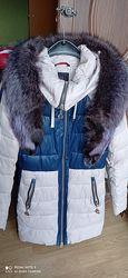 Продам зимовий якісний пуховик з натуральнтм комірцем, розмір 46, станя ід