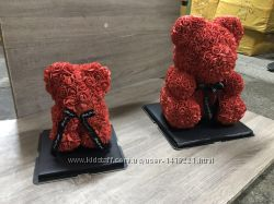 Игрушка мишка из цветов роз 25 40 см, подарочная коробка, доставка
