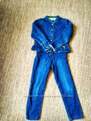 Классный Джинсовый пиджак и джинсы