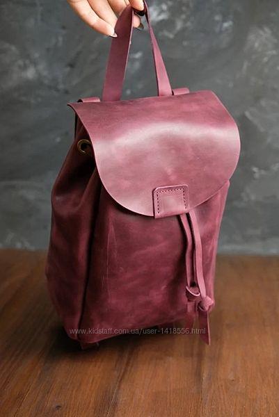 Кожа. Ручная работа. Кожаный женский рюкзак. Бордовый рюкзачок