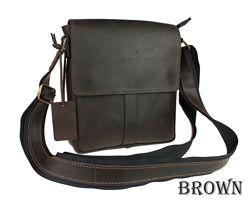 Кожа. Ручная работа. Кожаная коричневая, черная мужская сумка. Барсетка
