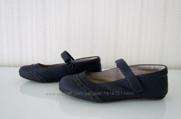 Туфельки кожаные для школы Мэри Джейн синие 33-34р