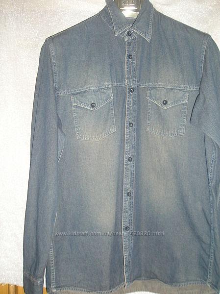 Мужская Джинсовая рубашка, размер XL, м. рук.64 см.