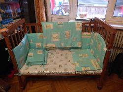 Детская кроватка бампер, матрас, одеяло, подушка и балдахин