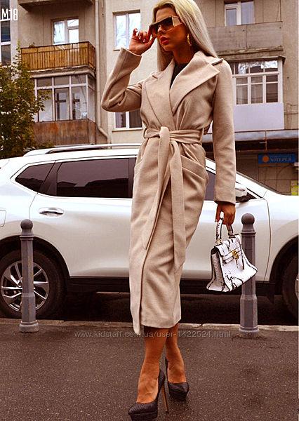Стильное кашемировое пальто с поясом и капюшоном. Разные цвета