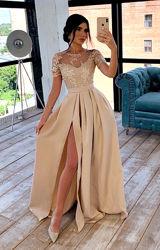 Нарядное длинное вечернее платье макси в пол с кружевным верхом и пышной юб