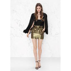 Новая золотая юбка с рюшей шелк