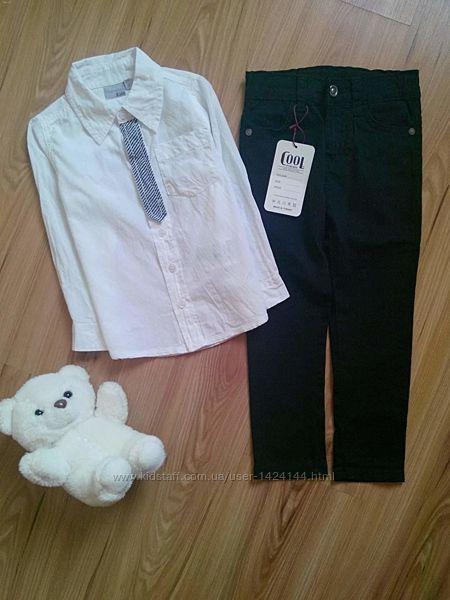 Белоснежная нарядная рубашка с имитацией галстука от Blue Seven, на рост 98