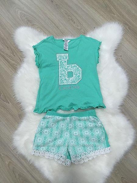Модный брендовый костюм набор майка шорты футболка bebe 5-6 лет 116 см