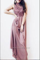Роскошное вечернее платье в пол, выпускное, длинное, вставки гипюр