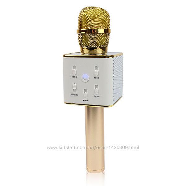 Беспроводной микрофон караоке bluetooth золотой Q7 MS