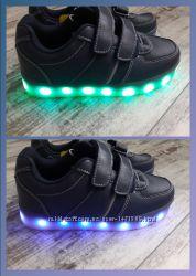Кроссовки кож. с LED  подсветкой
