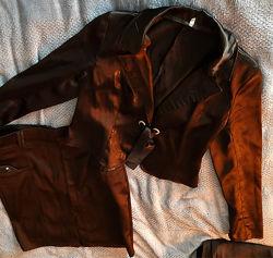 пиджак атласный черный женский 44-46р, пиджак коричневый
