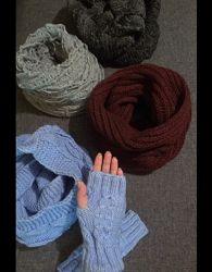 снуд-шарф голубой новый митенки