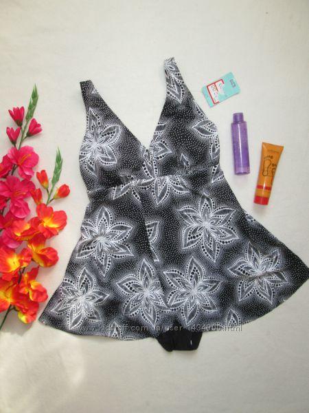 Великолепный сдельный купальник платье на запах в цветочный орнамент Tu.