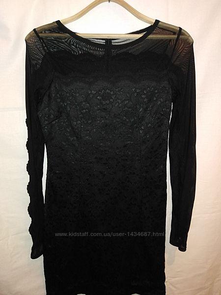 Чорне мереживне плаття кружевное платьице миди з рукавами від rezrekshn