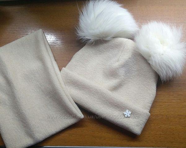 шапка с помпонами ангора  0-9лет