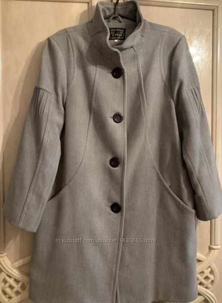 Шикарное серое шерстяное пальто размер 52-54-56