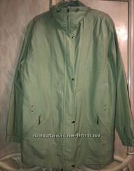 Зеленый плащ куртка утепленная плащевая повседневная большой размер
