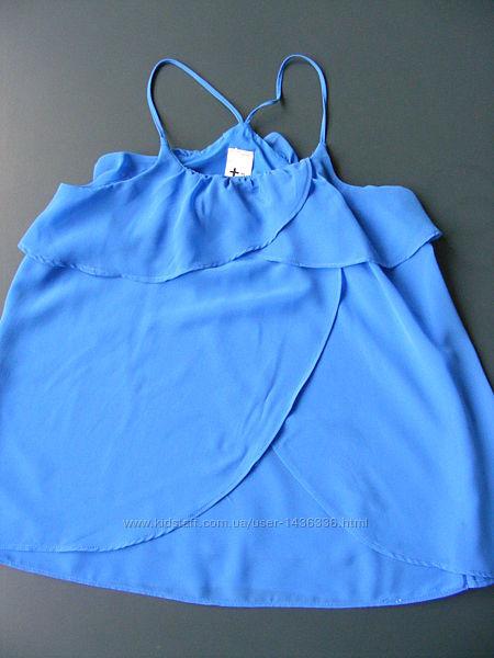 Блуза синяя с рюшами С&А