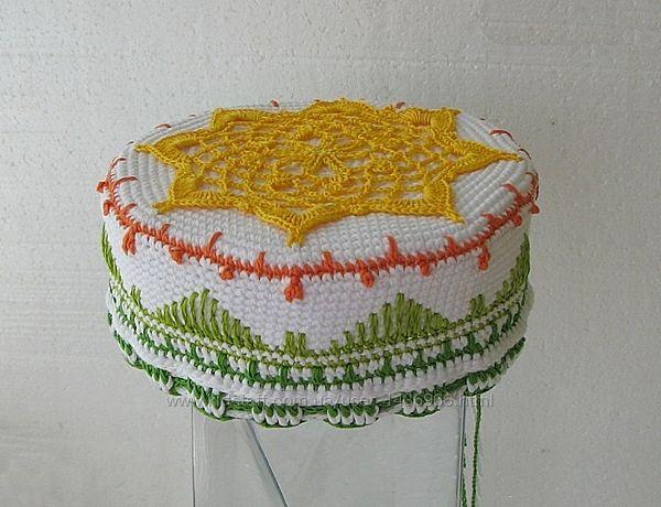 тюбетейка мультиколор короткая вязаная шапочка куфи