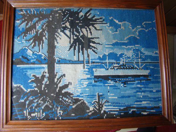 Картина Морской пейзаж  Вышивка. Ручная работа