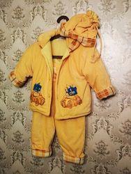 Демисезонный костюм куртка, полукомбинезон, шапочка, 1-3 года.