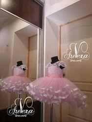 Нарядное детское подростковое платье пышное шлейфом розовое яркое выпускной