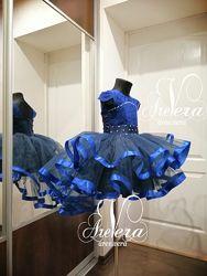 Нарядное детское платье пышное синее электрик на выпускной выпускное платья