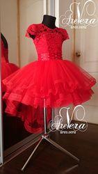 Нарядное детское подростковое платье пышное красное выпускное на девочку