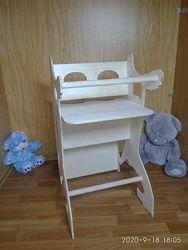 Стульчик для кормления, детская качалка-лошадка, столик, парта
