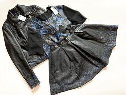 Костюм 3-ка asos юбка, блуза , косуха выполнены полностью с натуральной кож