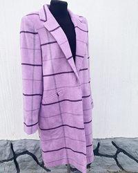Лавандовое новое  пальто в клетку george - большой размер