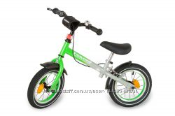 Акция Зеленый беговел на надувных колесах, подшипниках с насосом, фарой