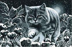 Картина для вышивания бисером Лунный кот 56х37