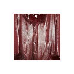 пальто шкіряне , колір марсала, хутро натуральне