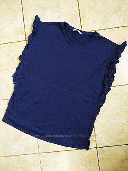 Футболка блузка TU с разрезами по бокам рюши воланы рукав