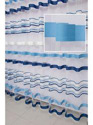 Тюль фатин c cине-голубыми полосками